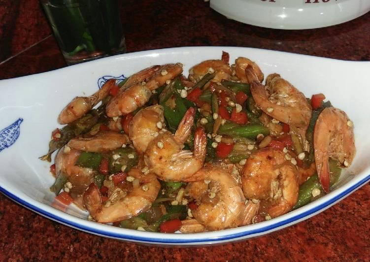 Resep Udang okra saus tiram
