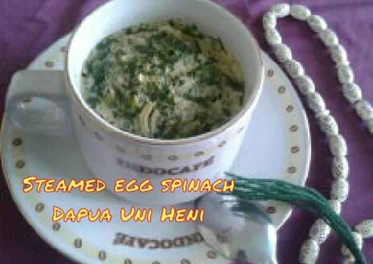 Resep Steamed egg spinach