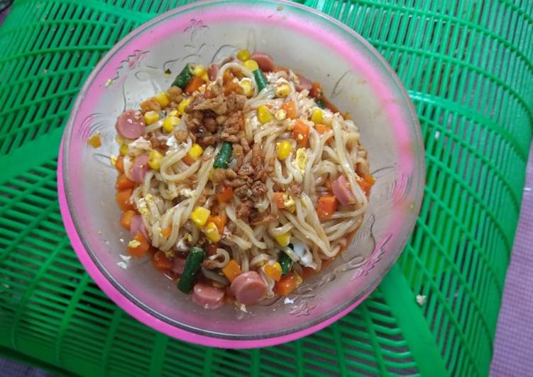 Resep Mie Sedaap Selection Korea Spicy with mix vegetables