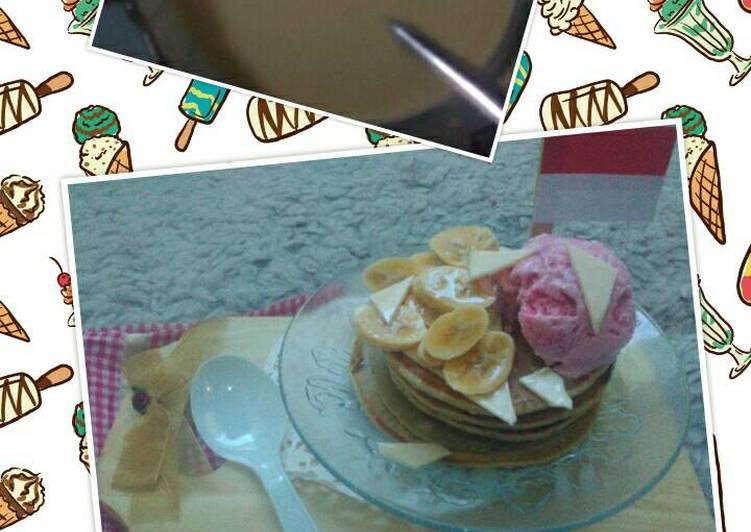 Resep Pancake pisang kejuu es krim