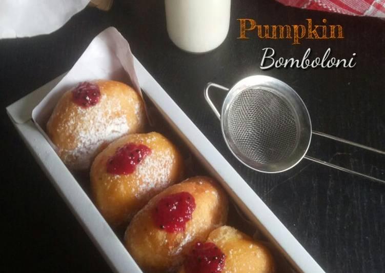 Resep Pumpkin Bomboloni proofing (eggless)