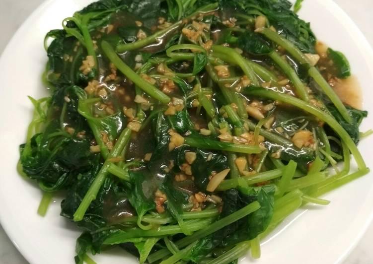 Resep Bayam siram bawang putih