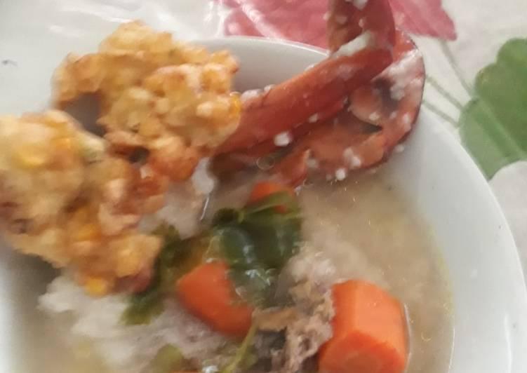Resep Bubur Kepiting Kuah Sup & Bakwan Jagung