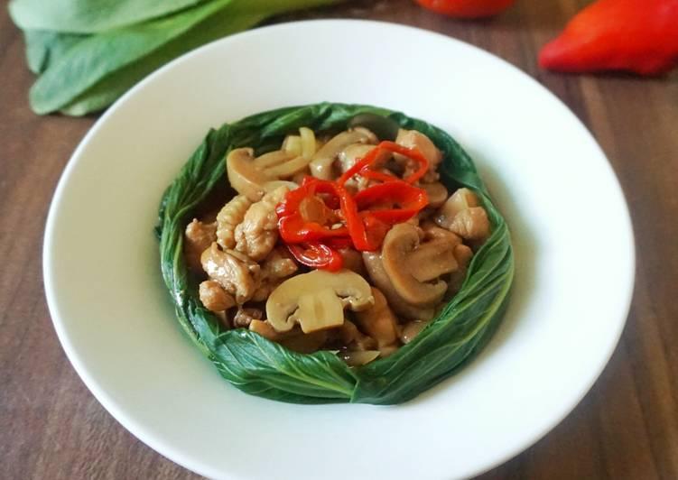 Resep Pokcoy Ayam Jamur Lada Hitam