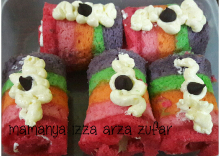Resep Bolu gulung rainbow mini