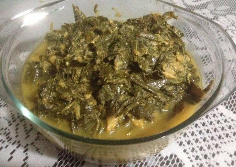 Resep Sayur daun singkong + teri