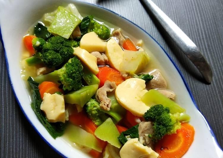 Resep Bonggol Brokoli Kuah Tofu Ayam Aroma Bawang Putih