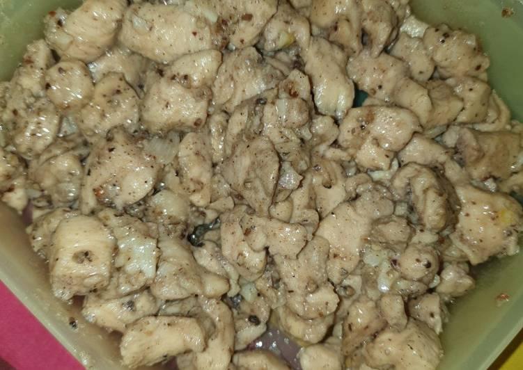 Resep Ayam Lada hitam (temennya saos keju)