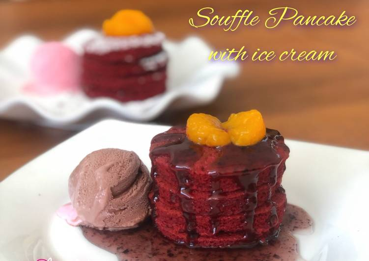 Resep Red Velvet Souffle Pancake with Ice cream