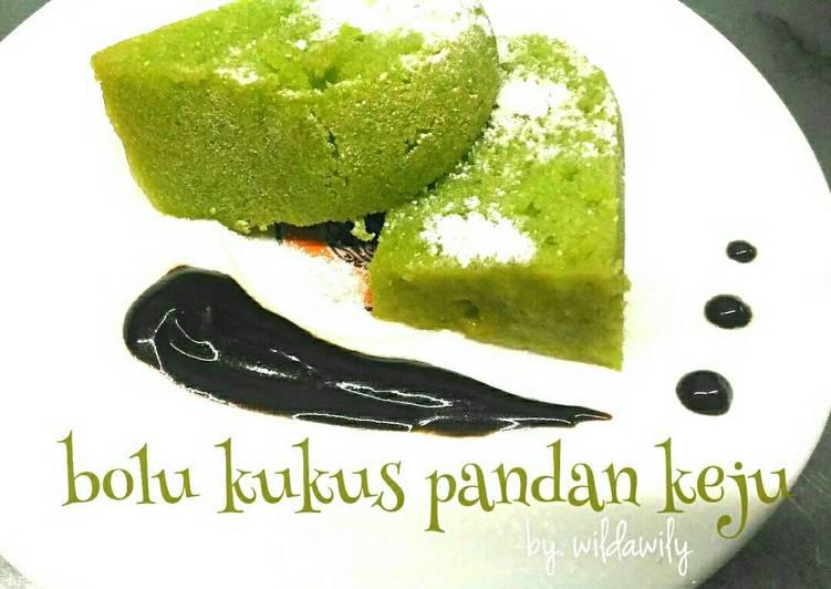 Resep Bolu Kukus Pandan Keju (no mixer, no oven)