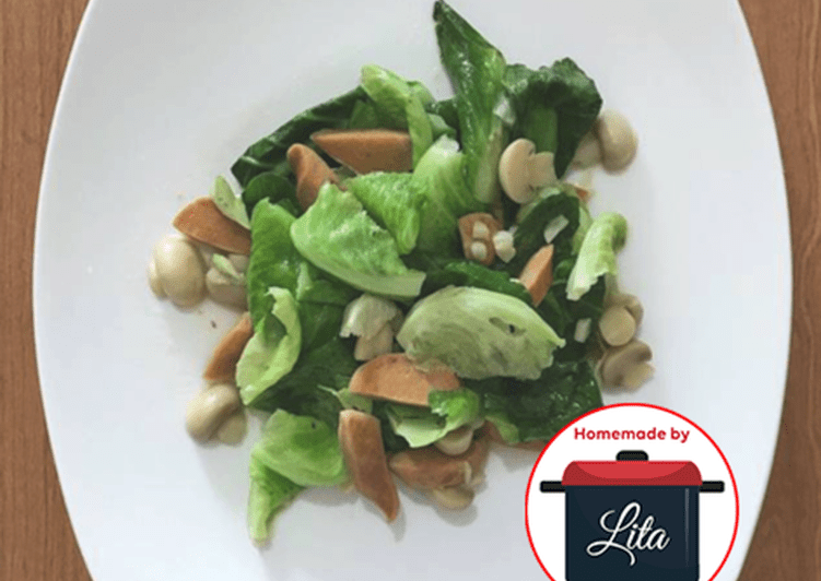 Resep Sawi sosis jamur mudah no tambahan MSG #homemadebylita