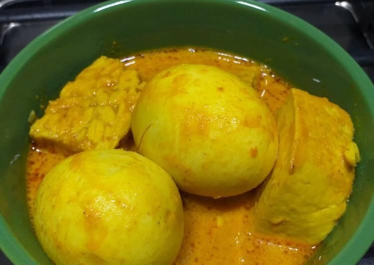 Resep Kare telur tahu tempe (tidak pedas)