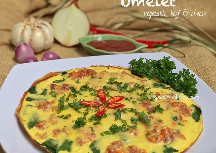 Resep Omelet Vegetable, beef & cheese