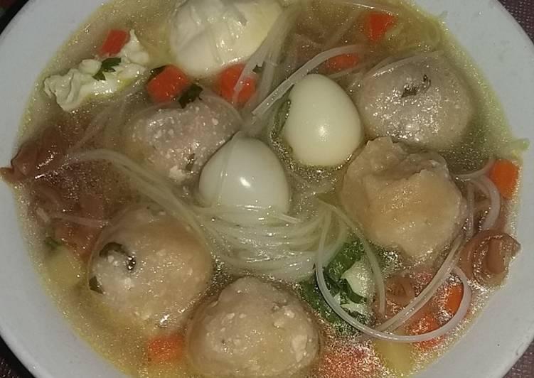 Resep Sup bakso tahu telur puyuh (tanpa daging)