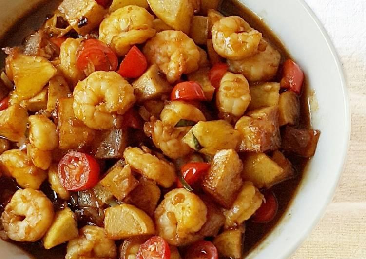 Resep Tumis udang kentang masak kecap