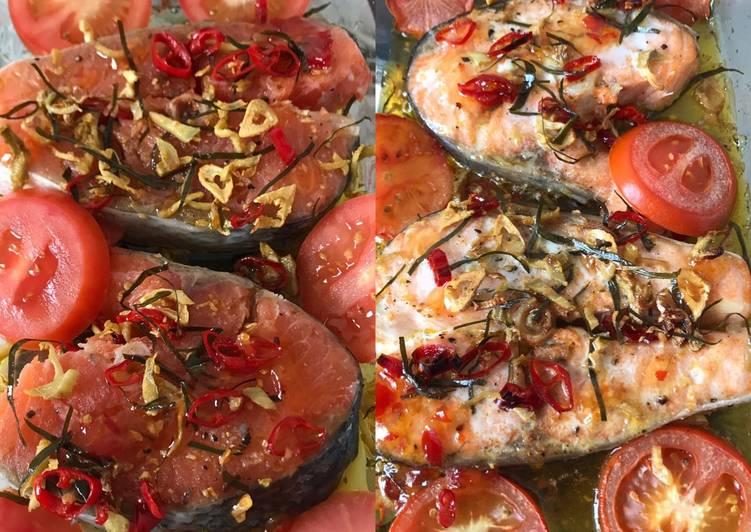 Resep Salmon fish oven