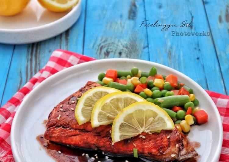 Resep Steak Salmon Saus Teriyaki Simple