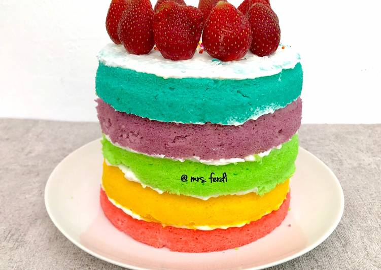 Resep Rainbow Steamed cake