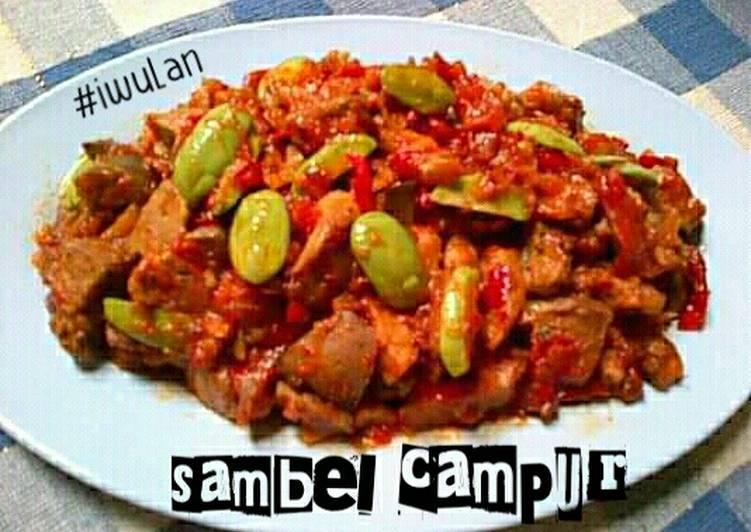 Resep Sambel Campur (ati + ampela + pete + tempe)