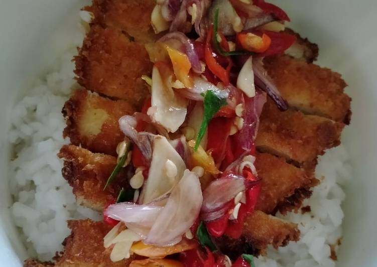 Resep Rice Bowl Ayam Katsu Sambel Matah