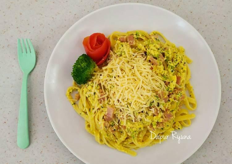 Resep Fettuccini Carbonara With Broccoli