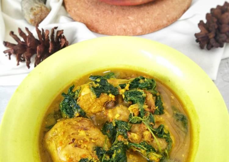 Resep Ayam lempah kuning daun bayam khas bangka