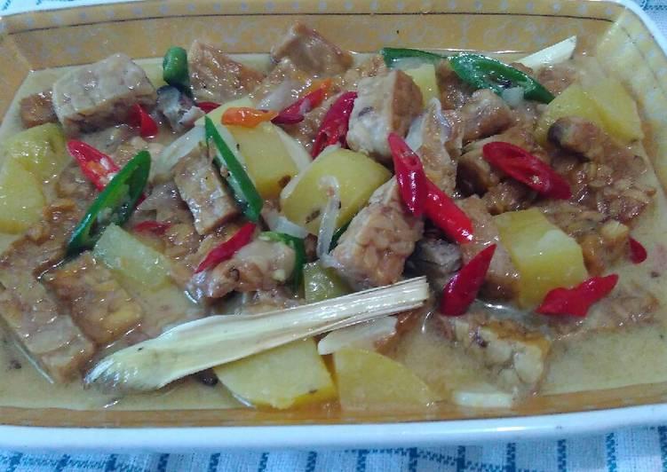 Resep Tempe,kentang,santan pedas