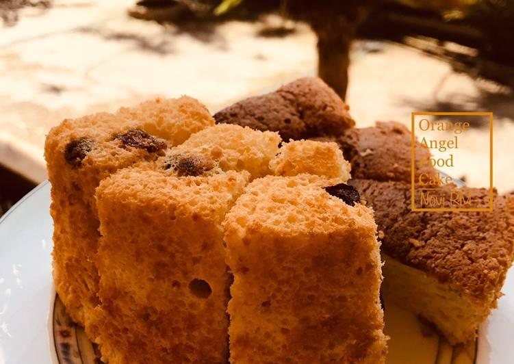 Resep Orange Angel Food Cake + Raisin & Cranberries (cake putih telur)