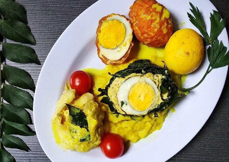 Resep Kari Telur Bungkus Sayuran dan Tahu Aroma Daun Kari