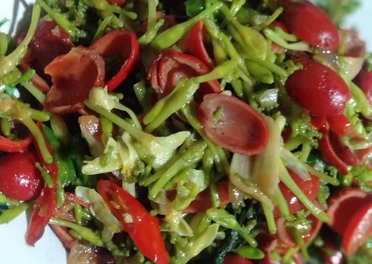 Resep Tumis bunga pepaya+cangkang Tangkil (melinjo)