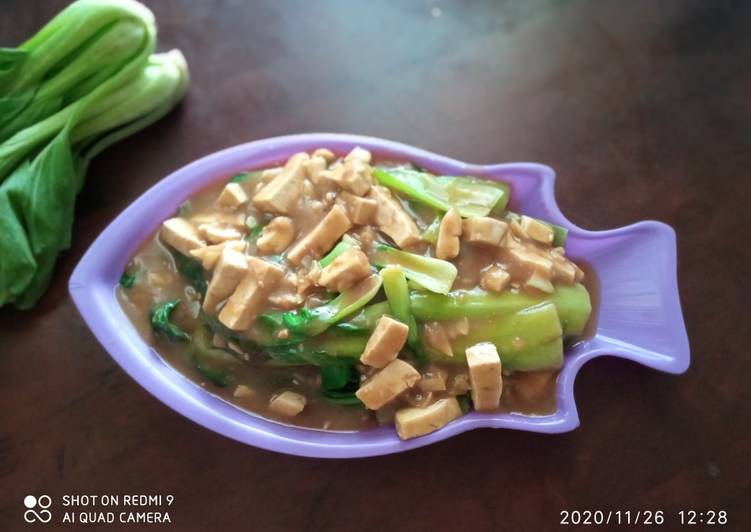 Resep Tumis Pokcoy bawang putih saus lada hitam + tahu putih
