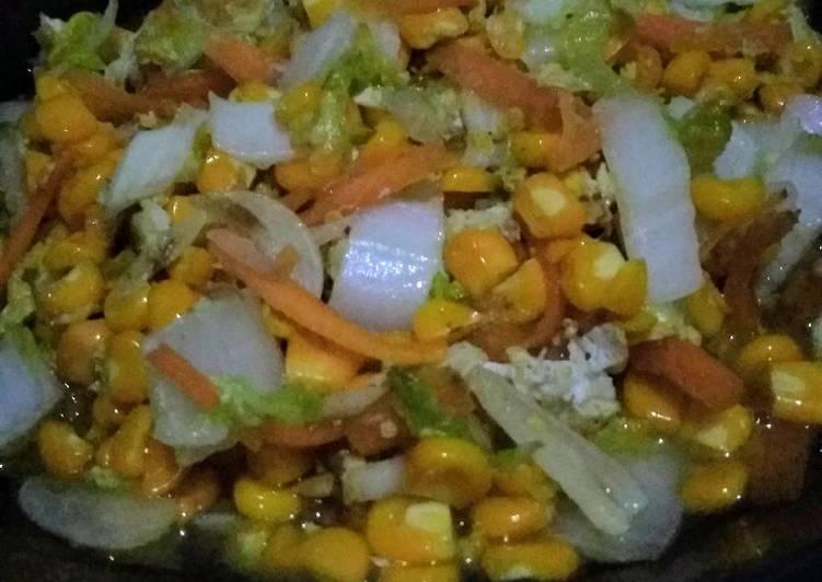 Resep Tumis sawi mix jagung wortel