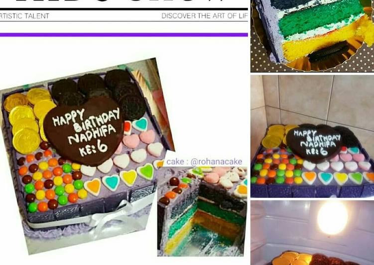 Resep Decor Bas cake Brownies warna Mm Anna