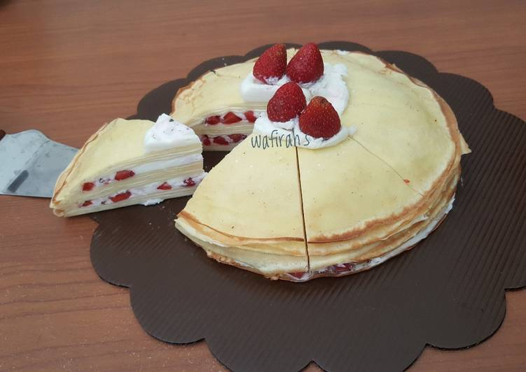 Resep Strawbery mille crepes