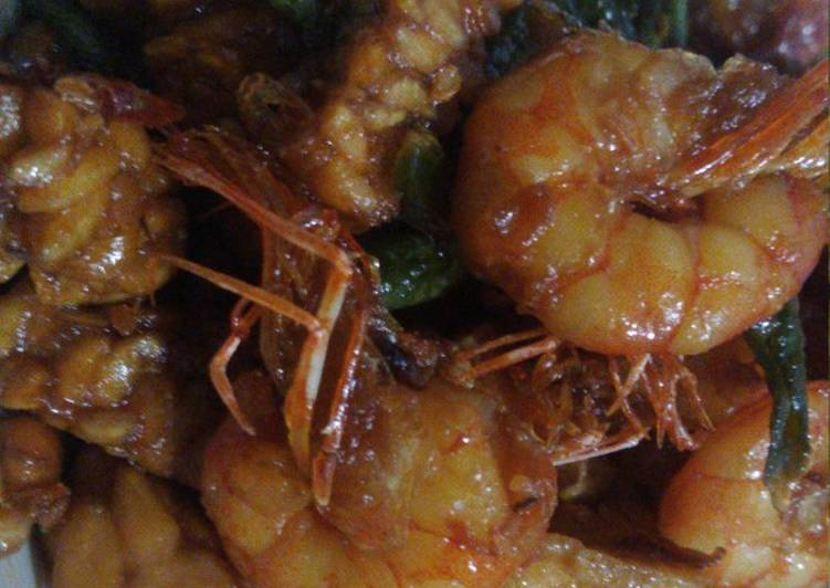 Resep Cah Udang Tempe+kcng panjang