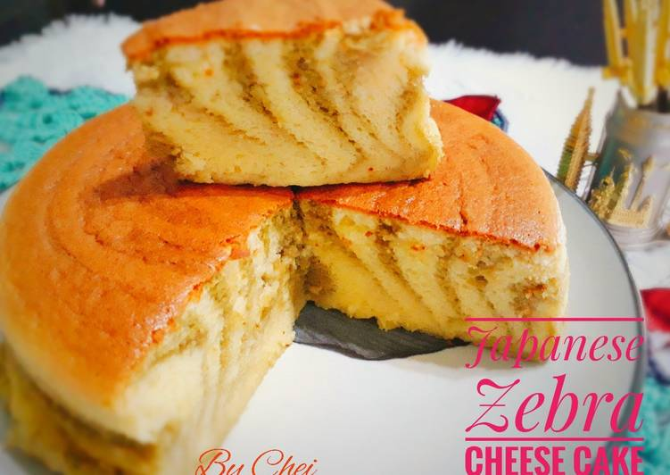 Resep Japanese Zebra Cheese Cake -Gluten free