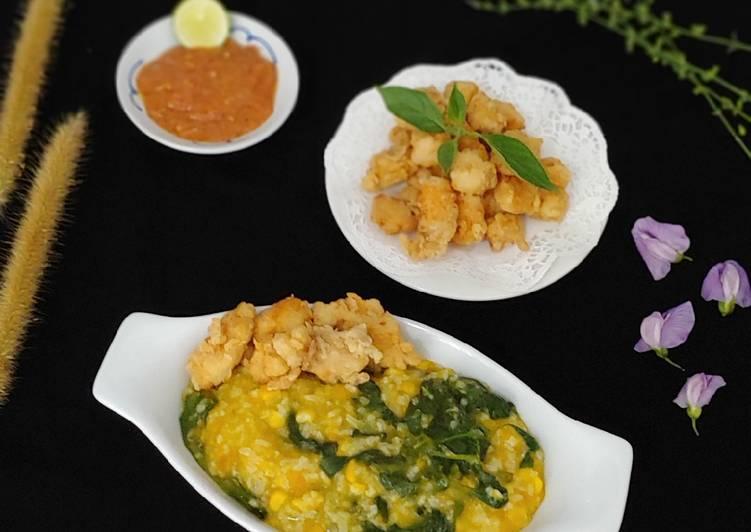 Resep Bubur Manado + Ayam Krispy Sambal Trasi