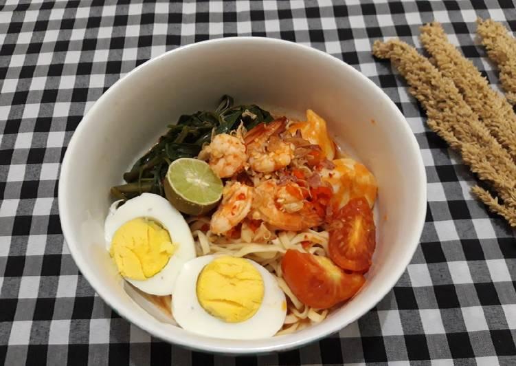 Resep Mie kangkung kuah pedas