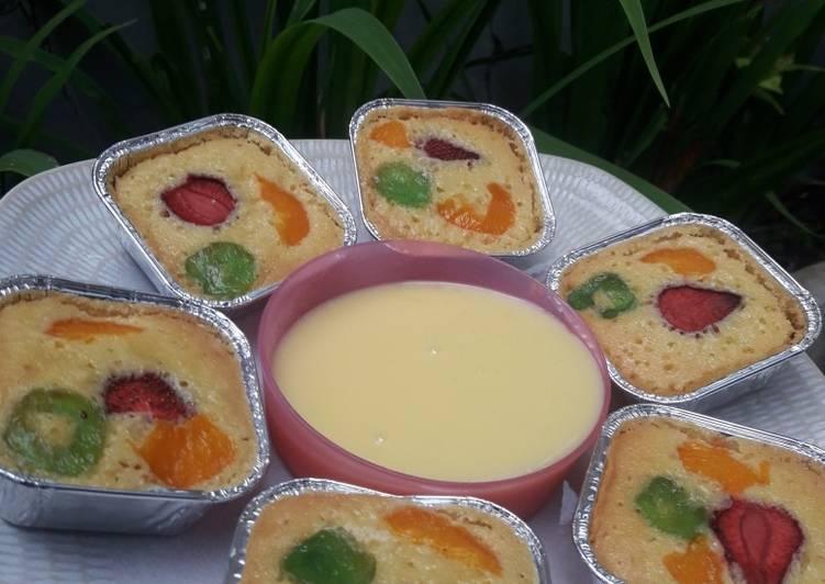 Resep Fruit pastry cake with creamy saus