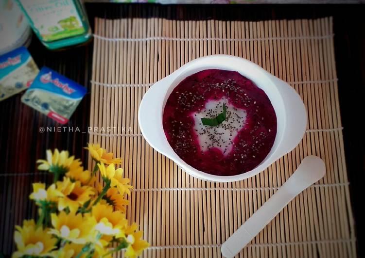 Resep Bubur sumsum saos buah naga