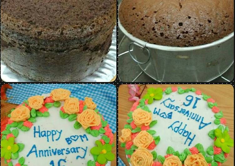 Resep Sponge Cake Chocolate (Bentuk Kue Tart)