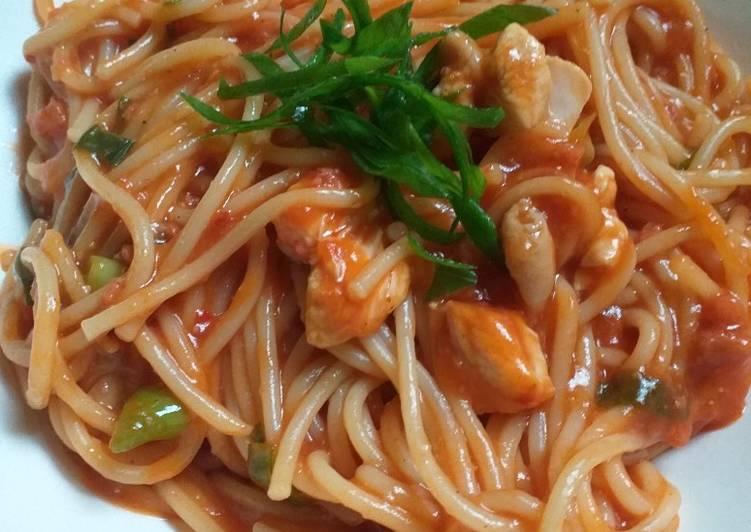 Resep Spaghetti ayam asam manis