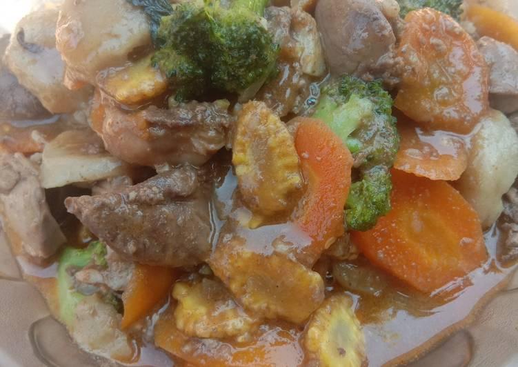 Resep Tumis ati ampela dan sayur