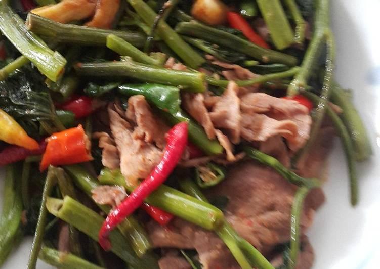 Resep Kangkung sapi pedas belacan
