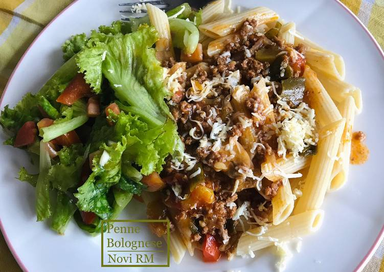 Resep Penne Bolognese with simple salad