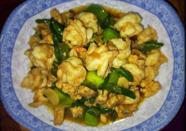 Resep Kacang panjang cah udang tempe