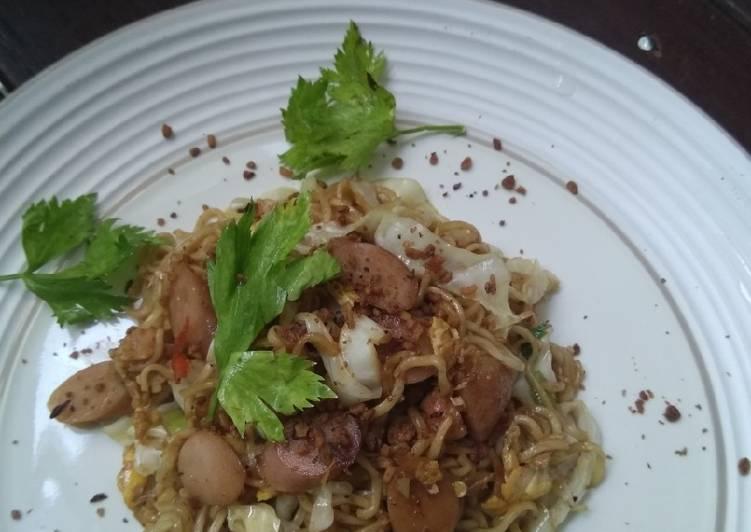 Resep Mie goreng instan saus black pepper simple