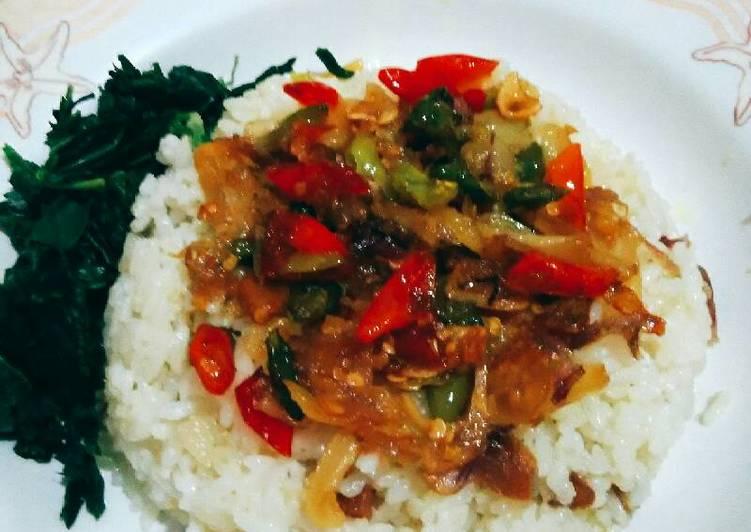 Resep Nasi liwet ikan asin(rice cooker)