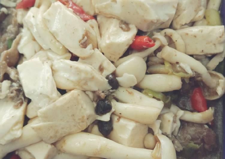 Resep Tahu jepang masak jamur dan Taosi