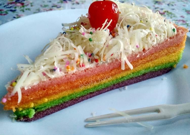 Resep Rainbow cake kukus Ny. Liem